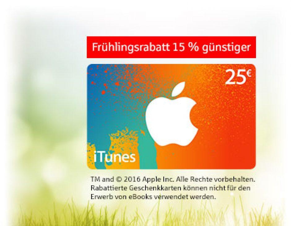 iTunes-Rabattaktion vom 11. bis zum 25. April 2016: 15% Preisvorteil für Sparkassenkunden