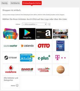 Geschenkgutscheine im Online-Banking der Sparkasse Bielefeld