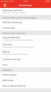 TAN-Ausnahmen mit der App Sparkasse verwalten.