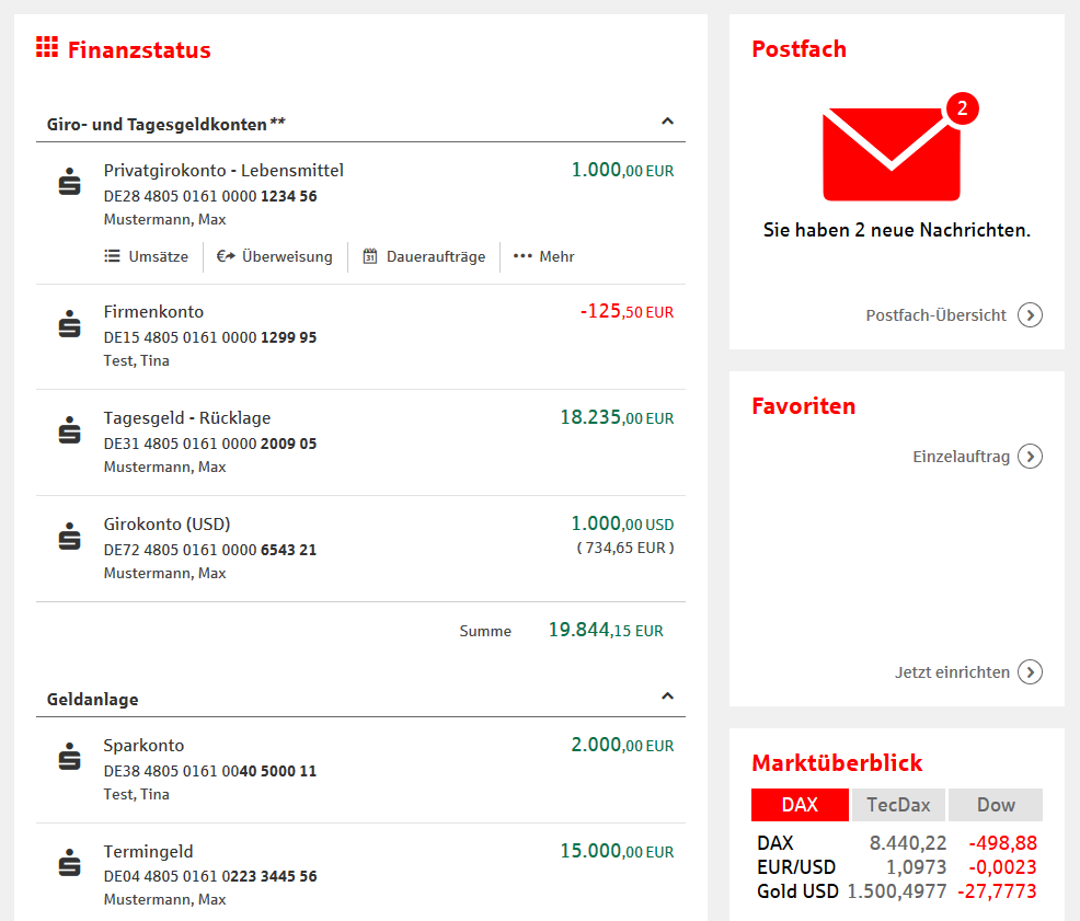Finanzstatus im Online-Banking